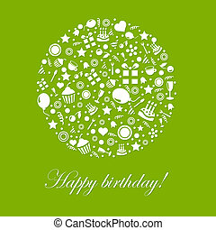 Green Happy Birthday Card, Isolated On White Background,...