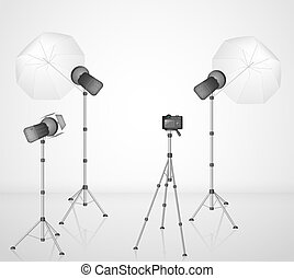 Photo studio with a camera and light. Eps 10
