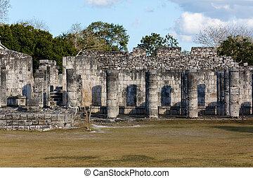 Collonades at Chichen Itza - Ruined collonades in the Mayan...