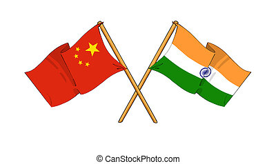 China and India alliance and friendship - cartoon-like...