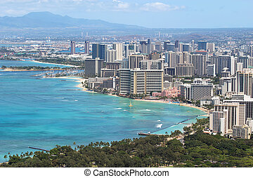 Waikiki Beach and the city of Honolulu, Hawaii - Skyline of...