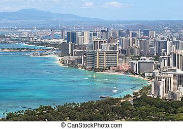 Waikiki Beach and the city of Honolulu, Hawaii - Skyline of...