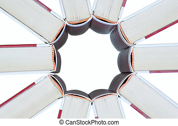 Set of books in the shape of a star. On a white background.