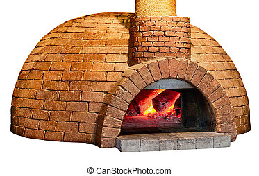 Old bread oven isolated on white background - Old brick...