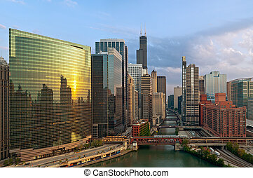 City of Chicago - Aerial view of Chicago at twilight blue...