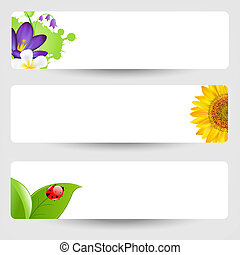 Banners With Flowers And Ladybug