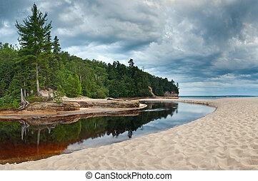 Michigan Landscape - Image of Miners River flowing into Lake...
