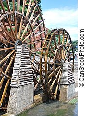 Water mill wheels in the town of Lijiang, China