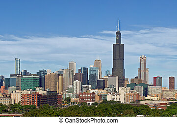 Chicago skyline - Image of Willis Tower and skyline of...