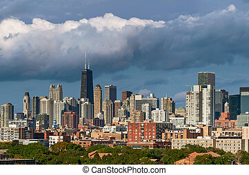 Colorful Chicago skyline - Image of Chicago skyline at...