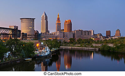 Cleveland - Panoramic image of Cleveland downtown at...