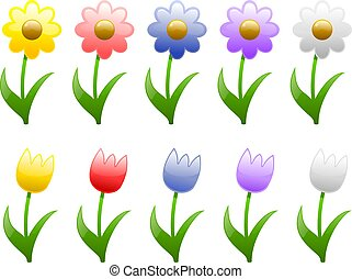 Spring and Summer Fl - Illustrations of Spring and Summer...