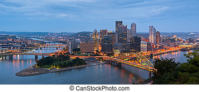 Pittsburgh skyline panorama - Panoramic image of Pittsburgh...