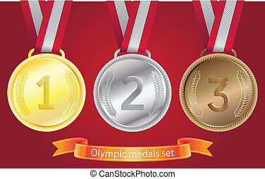 Olympic medals set - gold, silver, bronze