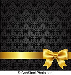 Black Damask Background With Gold Bow, Vector Illustration