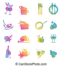 Set of colorful food and drink icon
