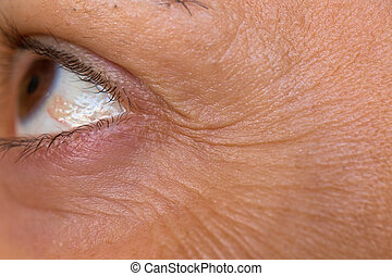 crows feet - caucasian woman crows feet detailed view, side...