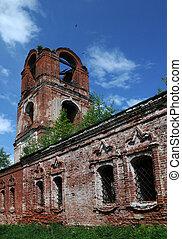 templom, rész, középkori,  half-ruined, ortodox