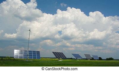solar panels, timelapse