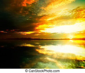 Beauty sunset on the lake. Abstract natural backgrounds