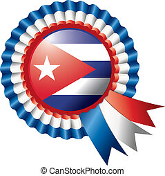 Cuba rosette flag - Cuba detailed silk rosette flag, eps10...