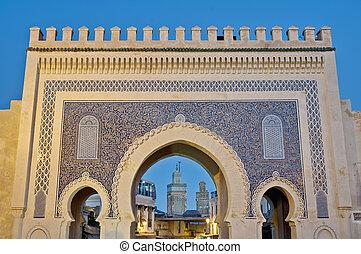 Bab Bou Jeloud gate at Fez, Morocco - Bab Bou Jeloud gate...