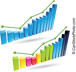 3d Stats Bars - Vector illustration of colorful 3d stat bar...