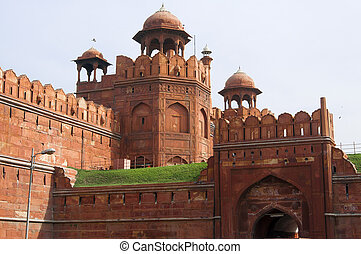 Red Fort in Old Delhi, India - Famous Red Fort - Lal Qil'ah,...