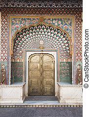 Orné, porte, ville, palais, Jaipur, Inde