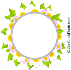 Frame With Flowers, Isolated On White Background, Vector...