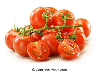 Fresh raw tomatoes isolated on white