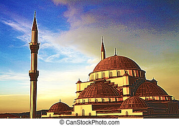 Artistic work mosque at sunset