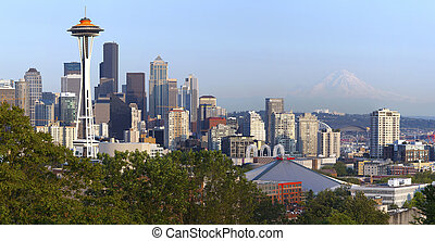 Seattle skyline and Mt. Rainier. - Seattle skyline at sunset...