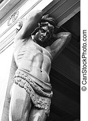Granite Atlas Guarding the Hermitage in St Petersburg,...