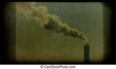 Polluting the atmosphere, vintage movie clip, HD.