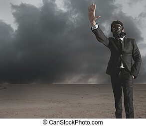 Businessman indicates radiation