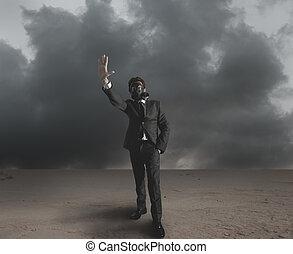 homem negócios, indica, radiação