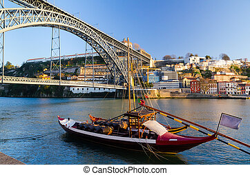 Dom Luis I bridge - view of Dom Luis I bridge at Porto,...