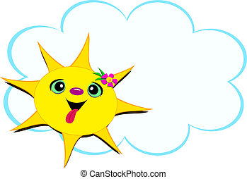 Happy Sun with a Flower