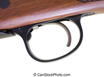Trigger - Close look at the trigger on a hunting rifle with...
