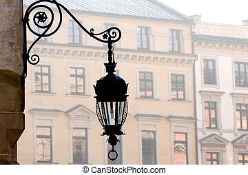 Old street lamp - Antique metal street lamp on Market...
