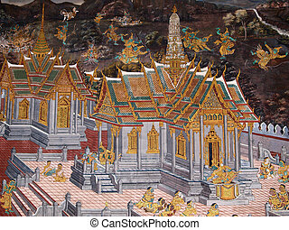 Wall art painting and texture in temple Thailand painting...
