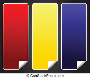 Blank red yellow blue sticker tag