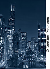 Chicago - Toned image of Chicago downtown and river at night...