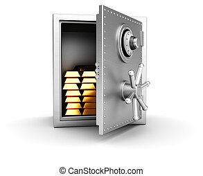 Wealth - Concept wealth: open safe with golden bars isolated...