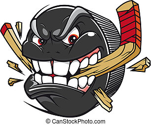 Hockey puck break hockey stick - Cartoon hockey puck bites...