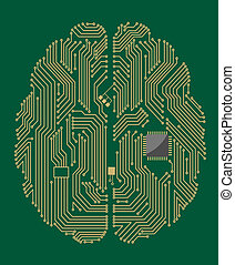 Motherboard brain with computer chip - Motherboard brain on...