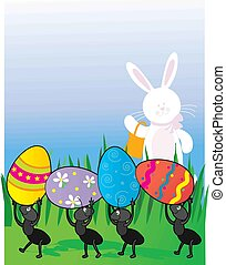 Easter Ants - A group of ants carrying Easter Eggs while the...
