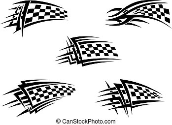 Chequer flags - Set of chequer racing flags in tribal style