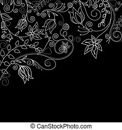 Monochrome floral background with white flowers for textile...